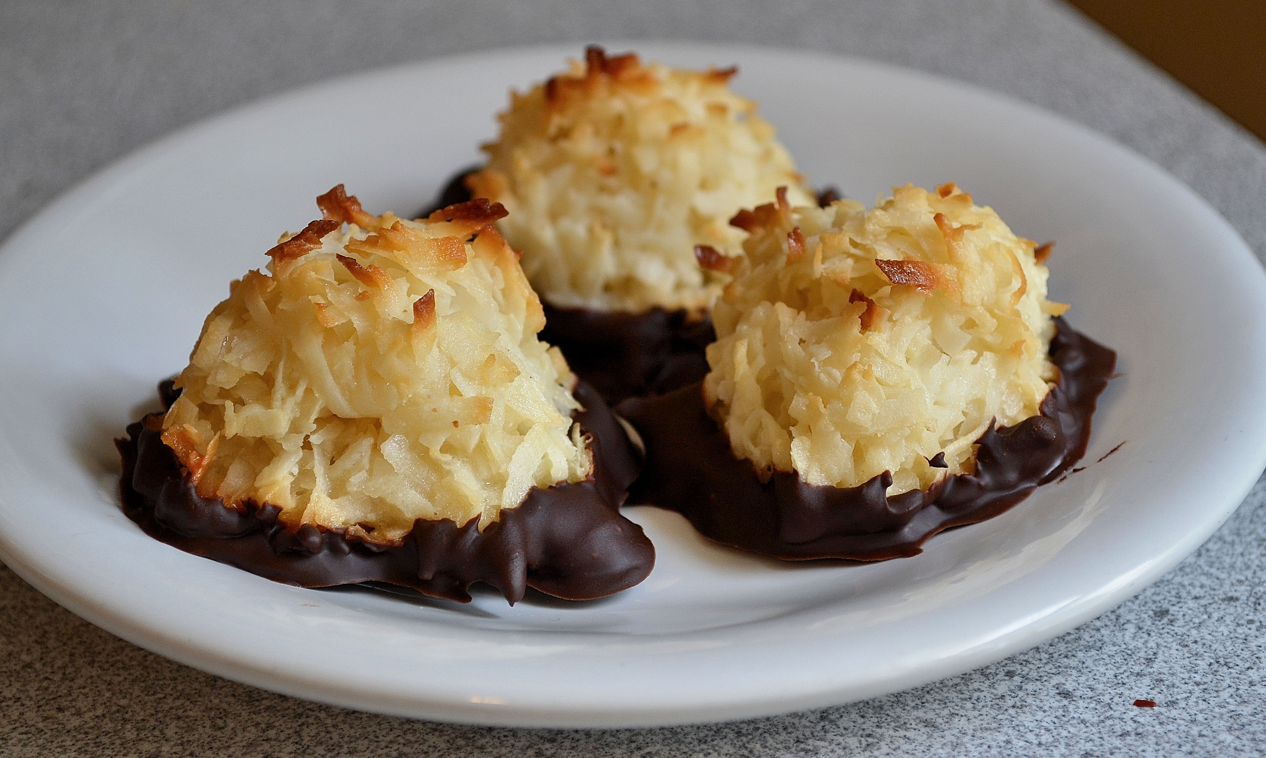 Coconut Macaroons Dipped Dark Chocolate