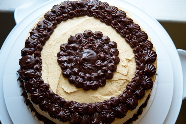 Chocolate Cake with Peanut Butter Frosting and Chocolate-Peanut Butter ...