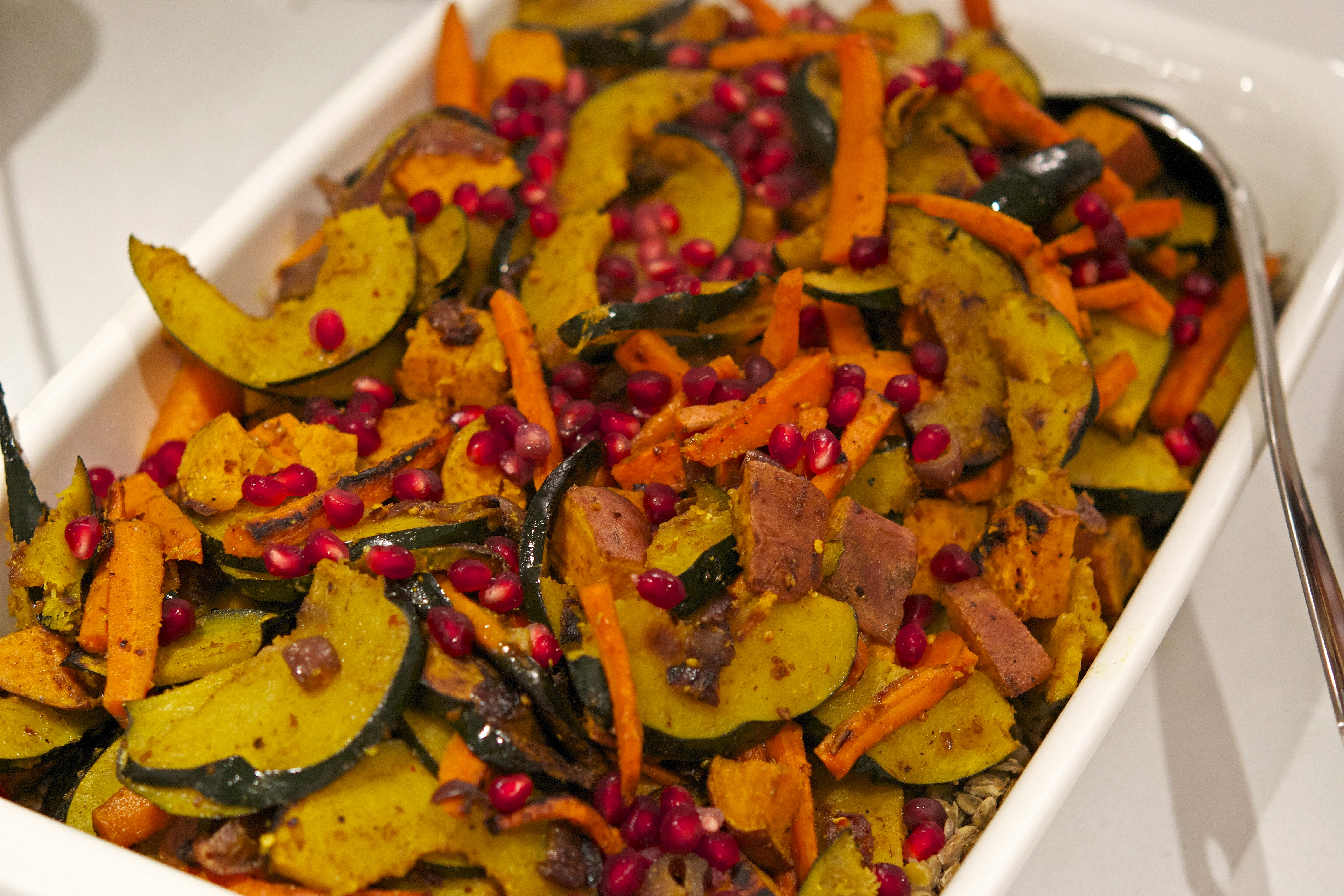 Indian Spiced Roasted Vegetables Over Lentils The